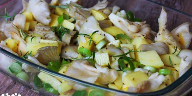 Pečená hliva so zemiakmi s morčacím stejkom