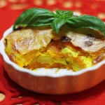 Dvojfarebný zemiakový gratín